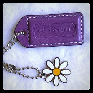 Coach Purple Leather and Daisy Flower Hangtag NWOT